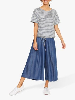 White Stuff Summer Brush Stripe Cotton Jersey T-Shirt, Dusty Blue/Navy