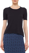 Akris Punto Short-Sleeve Eyelet-Back Pullover, Indigo/Denim