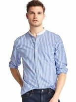 Gap True wash poplin band collar slim fit shirt