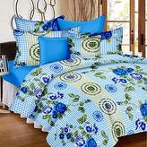 Ahmedabad Cotton Basics 136 TC Cotton Double Bedsheet with 2 Pillow Covers - Blue