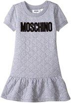 Moschino Logo Dress With Flare Skirt (Kid) - Gray - 4