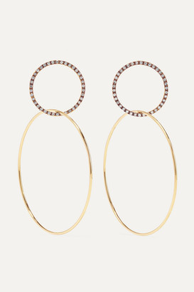 Ileana Makri Double Slim Medium 18-karat Gold Diamond Hoop Earrings - one size