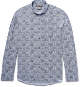 Michael Kors - Slim-fit Cutaway-collar Printed Cotton-poplin Shirt