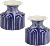 Amalfi by Rangoni Indigo Flute Vase, 14cm (Set of 2)