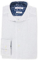 Isaac Mizrahi White & Navy Polka Dot Slim Fit Dress Shirt