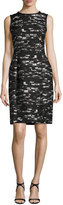 Oscar de la Renta Geometric-Jacquard Sleeveless Sheath Dress, Black