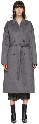 Acne Studios Grey Wool Double-Breasted Coat