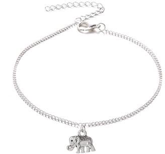 ZHOUBA Women Elephant Pendant Anklet Ankle Bracelet Beach Sandals Barefoot Jewelry Gift (Antique Silver)