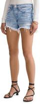 A Gold E Agolde Parker Vintage Frayed-Hem Denim Shorts