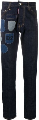 DSQUARED2 Patch-Embellished Straight-Leg Jeans