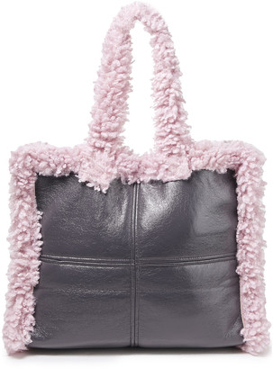 Stand Studio Coated Faux Shearling Tote