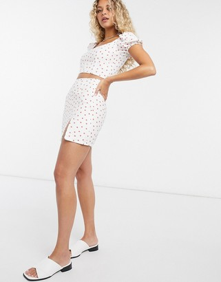 Glamorous mini skirt in strawberry print two-piece