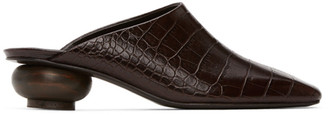 Low Classic Brown Croc Wood Heel Mules