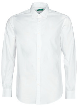 Benetton LOGAN men's Long sleeved Shirt in White