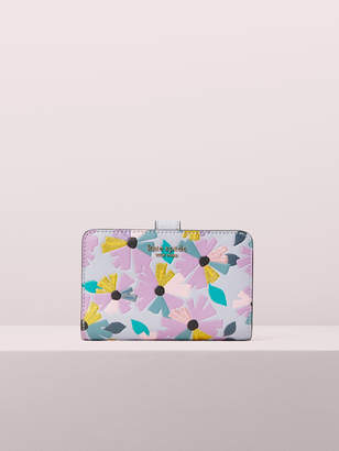 Kate Spade spencer glitter floral compact wallet