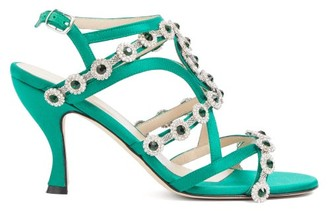 Christopher Kane Crystal-embellished Satin Sandals - Green