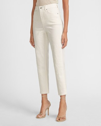 Express Super High Waisted Off-White Embroidered Mom Jeans