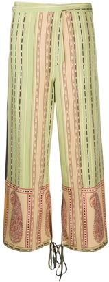 Etro Wide Leg Paisley-Print Silk Trousers