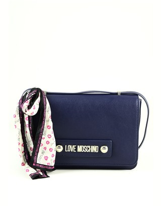 Love Moschino Blue Eco-Leather Scarf Shoulder Bag