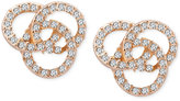 T Tahari Gold-Tone Pavé Knot Stud Earrings