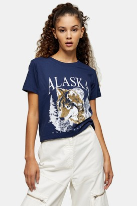 Topshop Womens Navy Alaska Bear T-Shirt - Navy Blue