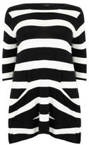 Yours Clothing YoursClothing Plus Size Womens Stripe Knitted Tunic Pockets Ladies Short
