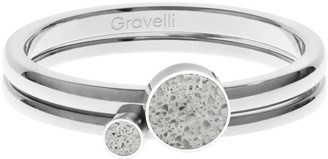 Gravelli Double Dot Ring Set Stainless Steel & Concrete Grey