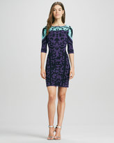 Phoebe by Kay Unger Printed 3/4-Sleeve Knit Dress