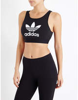 adidas Trefoil stretch-cotton cropped top