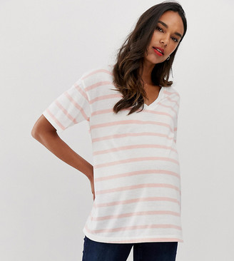 Asos DESIGN Maternity linen mix mix t-shirt with v-neck in stripe-Multi