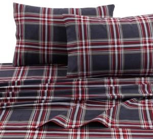 Tribeca Living Heritage Plaid 5-ounce Flannel Printed Extra Deep Pocket King Sheet Set Bedding