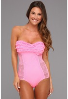 Juicy Couture Prima Donna Ruffle Bandeau Maillot (Haute Pink) - Apparel