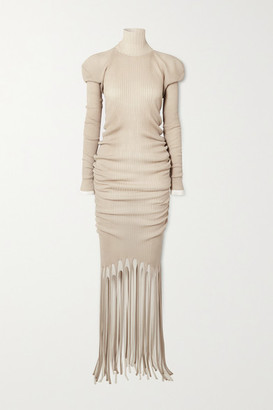 Bottega Veneta Open-back Layered Fringed Ribbed-knit Turtleneck Dress - Beige