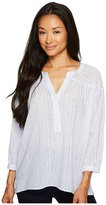 TWO by Vince Camuto - Cotton Tencel Drizzle Stripe Ruched Henley Women's Long Sleeve Pullover