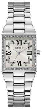 GUESS Silver-Tone Square Crystal Steel Watch 28mm