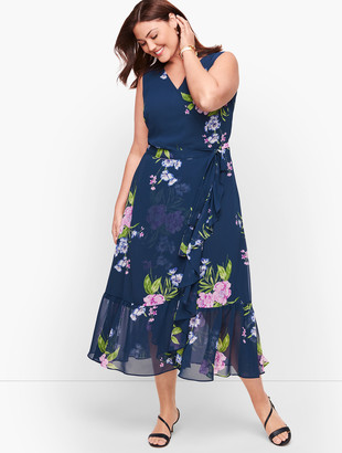Talbots Georgette Painterly Floral Wrap Dress