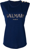 Balmain logo button detail top - women - Cotton - 36
