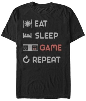 Nintendo Men's Nes Eat Sleep Game Repeat Short Sleeve T-Shirt