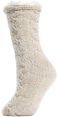 Me Moi Faux Fur-Lined Cable Chenille Slipper Socks