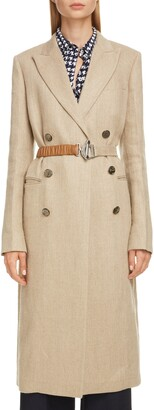 Victoria Beckham Linen Coat with Leather Belt