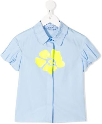 Mi Mi Sol Pleated-Collar Flower Print Shirt