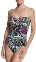 Tommy Bahama Lively Leaves V-Wire Bandini Swim Top, Green