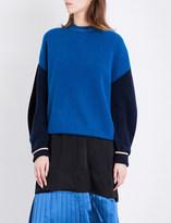 Toga Contrast-sleeve oversized wool jumper