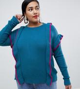Junarose frill detail knitted jumper
