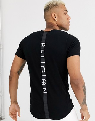 Religion curved hem t-shirt with back taping in black