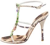 Roberto Cavalli Embossed Embellished Sandals