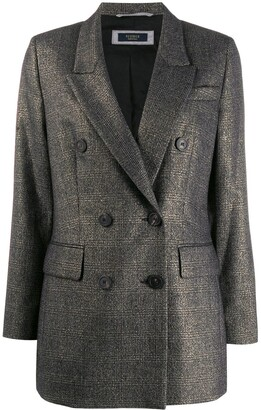 Peserico Check Print Double-Breasted Jacket
