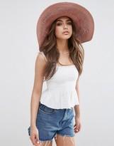 Asos Oversized Straw Hat With Crochet Insert
