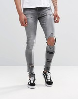 Asos Extreme Super Skinny Jeans With Mega Rips In Gray