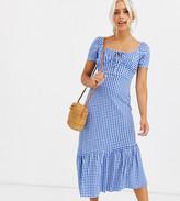 Asos DESIGN Petite Exclusive puff sleeve gingham maxi dress